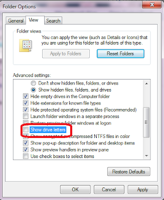 """folder option of windows 7"""