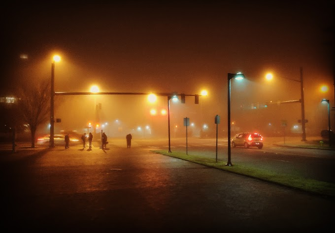 Foggy Night at Norfolk Virginia USA