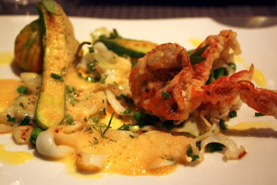 Zucchini flowers stuffed with crab at Ze Kitchen Galerie restaurant in Paris France