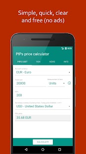 PIPs price & risk calculator (Forex) #JRApp - náhled
