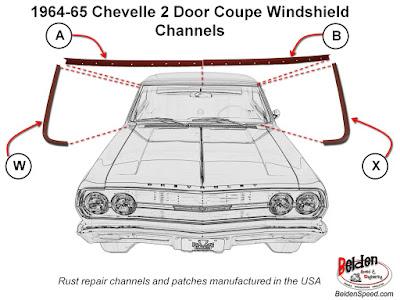 1964 1965 Chevelle El Camino /& GTO Coupe Windshield Moldings 5 pieces NEW