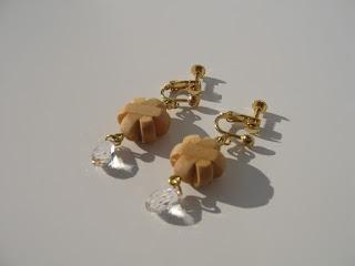 KUMIKOフラワーしずくイヤリング kumiko flower drop earrings