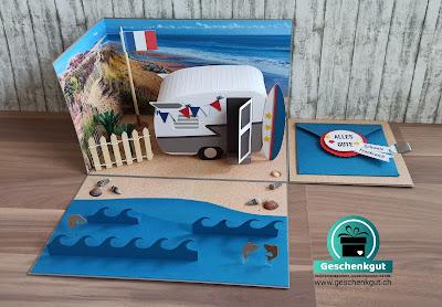 Geschenkbox Explosionsbox Überraschungsbox Wohnwagen Reisegutschein Meer Surfen
