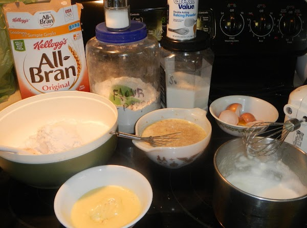 Gather all the cooking ingredients. Separate the eggs, and beat the yolks slightly. Add the milk...