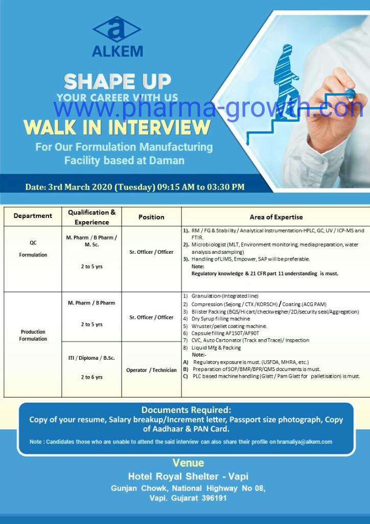 Alkem Lab Ltd - Walk in interview for Production, Quality Control on 3rd March 2020