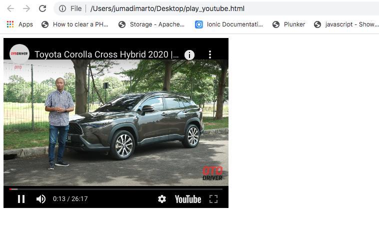 Hasil Embed Youtube iframe