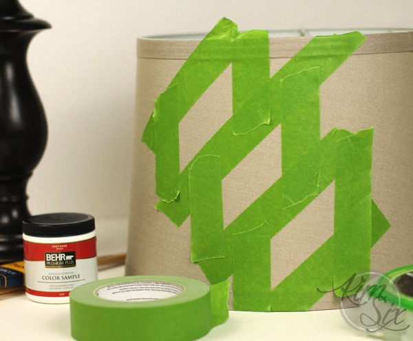 Taping off lampshade for stenciling