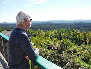 Photo: Day 53 August 10 Bennington  To Brattleboro VT: Dave taking in view at Hogback Mt