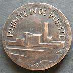 Achterkant bronzen herdenkingspenning Dudok. Diameter 8,5 cm. oplage 5.