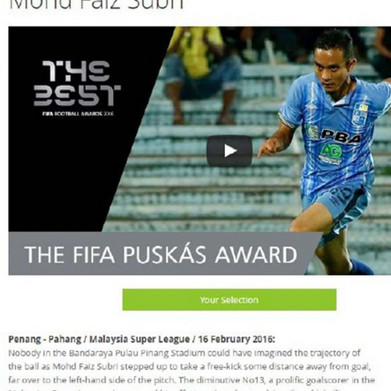 Anugerah Puskas milik Mohd Faiz Subri !