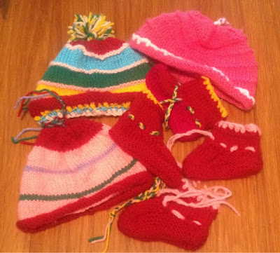 My Sunday Photo - knitted baby hats and booties