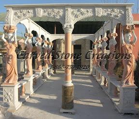 carved stone, Column, Exterior, Gazebo, Gazebos, Ideas, Landscape Decor, Statue