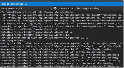 entity-framework-core-nuget-package