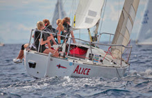 J/24 German women's sailing team- ALICE- sailing at Monte Carlo, Monaco