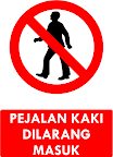 Rambu Pejalan Kaki Dilarang Masuk