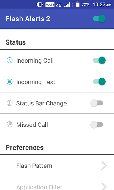 how to turn on flash notification on call