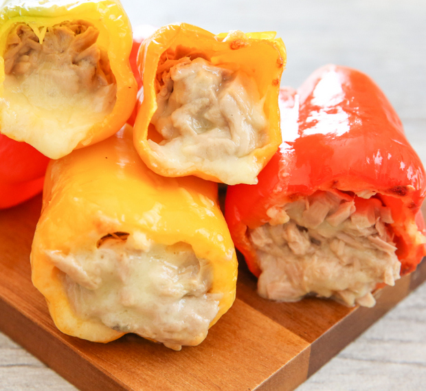 Stuffed Pepper Tuna Melts stacked on each other