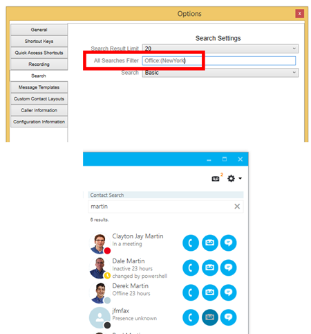 segmented contact list search