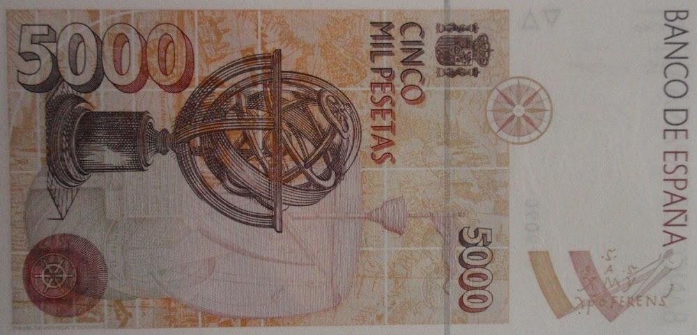 El reverso del billete de 5.000 pesetas de Colón muestra una esfera armilar. El cuadrante fue su instrumente más útil, pero no es tan guapo.