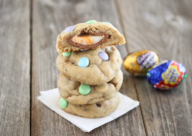 photo of a stack of Cadbury Eggs Stuffed Chocolate Chip Cookies