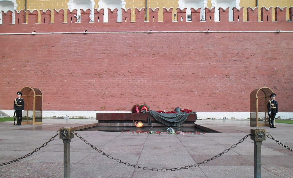 some kind of eternal flame thing burns beyond the walls of the Kremlin