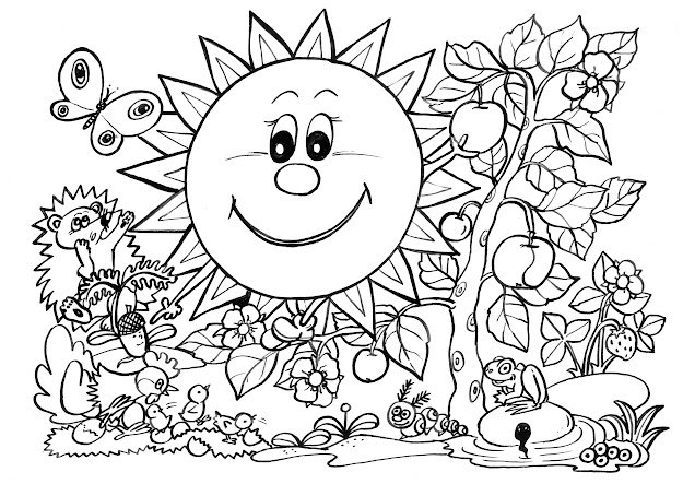 Spring Scene Coloring Pages Awesome Nature Scene Coloring Sheets At Nature  Coloring Pages With