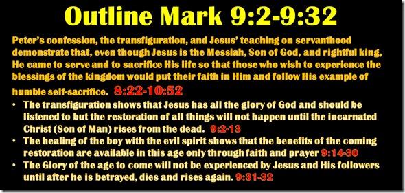 Mark 9.2-32 outline