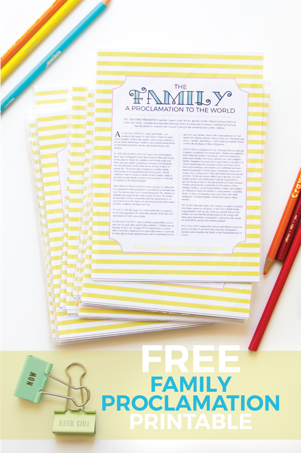 graphic relating to The Family a Proclamation to the World Free Printable called Free of charge Loved ones Proclamation Printable Corinas Corner