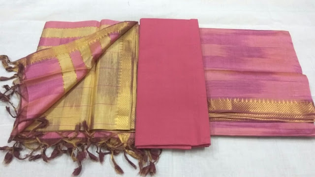 Pink Mangalagiri Semi Silk Dress materials