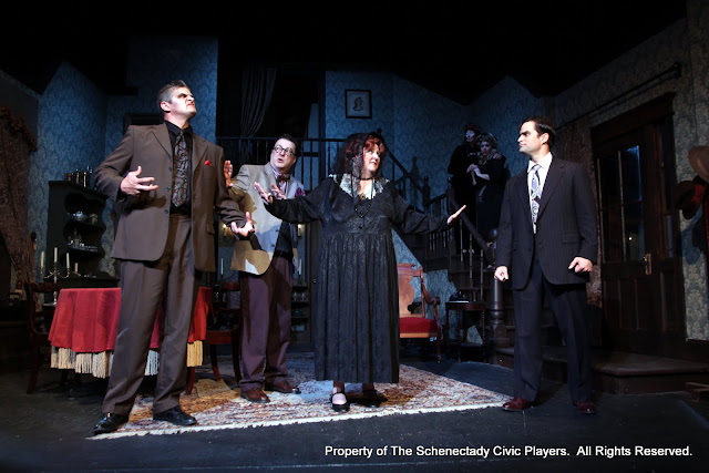 Daniel Martin, Richard Michael Roe, Debbie May, Cindy Welch, Sara Fittizzi and Matthew Surman in ARSENIC AND OLD LACE (R) - May 2011.  Property of The Schenectady Civic Players Theater Archive.