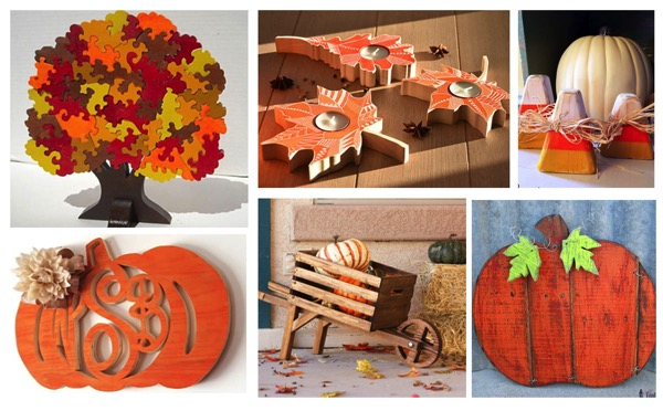 Easy beginner woodworking projects for fall.  Autumn pumpkins and leaves make for great autumn building projects