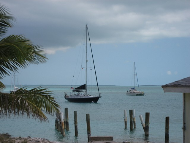 Parallax at mooring at Lee Stocking Island, Exumas, Bahamas