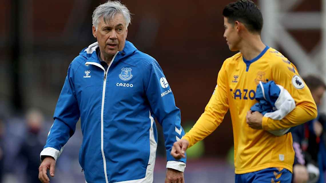 Everton manager Carlo Ancelotti and star player James Rodriguez