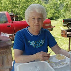 Sue Phillippi eats lunch after everyone is served.