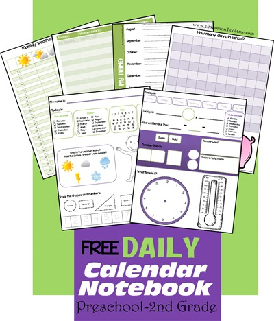FREE Calendar Notebook pages for preschool, kindergarten, 1st grade, and 2nd grade! So many options. LOVE THESE!!!
