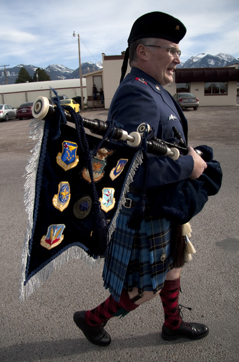 James Peittit on his way to Main Street in Ronan, dressed and ready for his annual walk in Ronan. Pettit plays the bagpipe to honor Veterans' Day each November. Photo by Will Freihofer