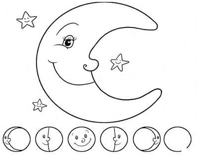fases de la luna para colorea