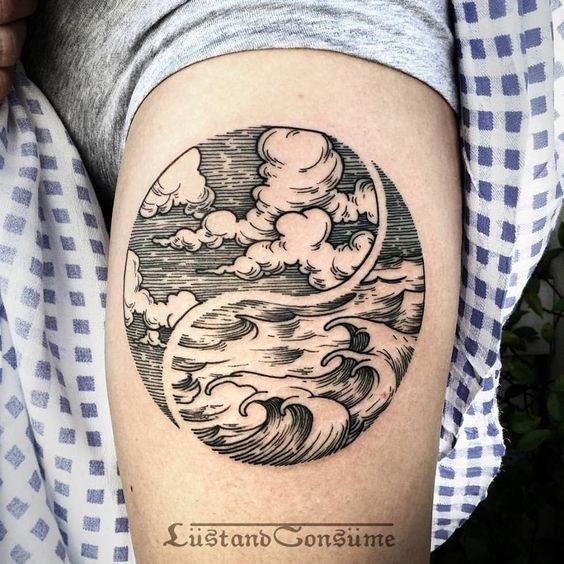 auto-croquis_do_oceano_braço_de_tatuagem