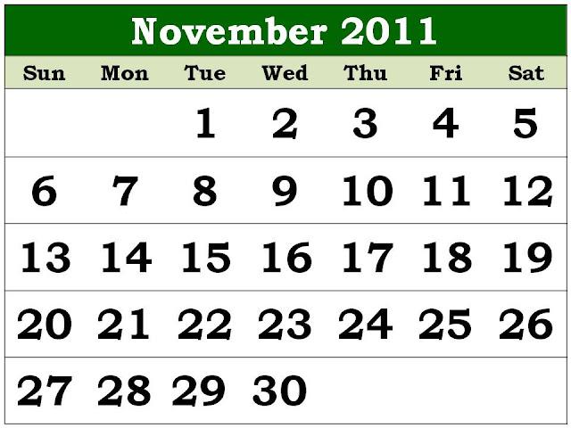 calendar november 2011. 2011 Calendar November (Nov