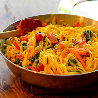 Pasta and Vegetables in a Curry Sauce Recipe