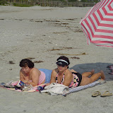 Bonnie and Pam catch a few rays at Folly Beach.