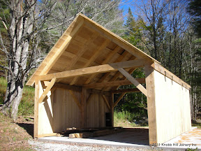 The owner plans on building shed roof additions to two sides for wood storage.