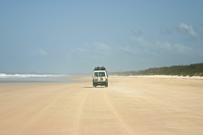 Our 4WD convoy driving on the beach of Fraser Island