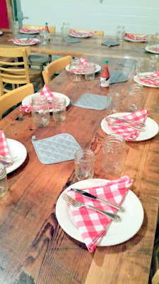 The tables are 4 sets of six- each set of six shares dishes family style