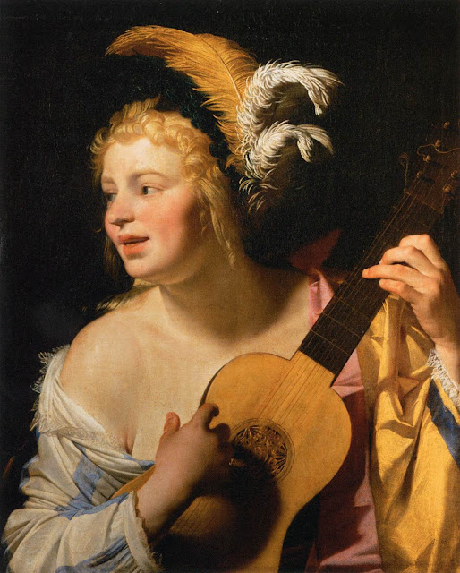 Gerrit van Honthorst - Woman Playing the Guitar