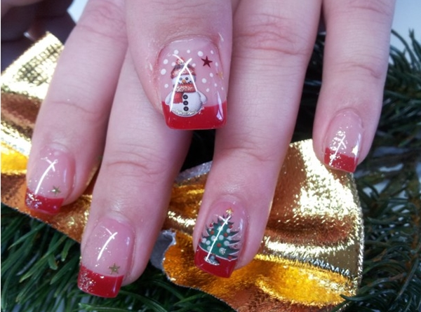 Glittery & Colorful Christmas Nail Art