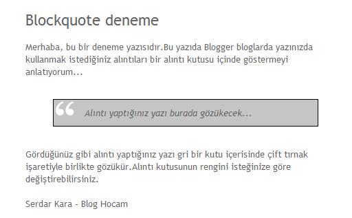 Blogger alıntı kutusu