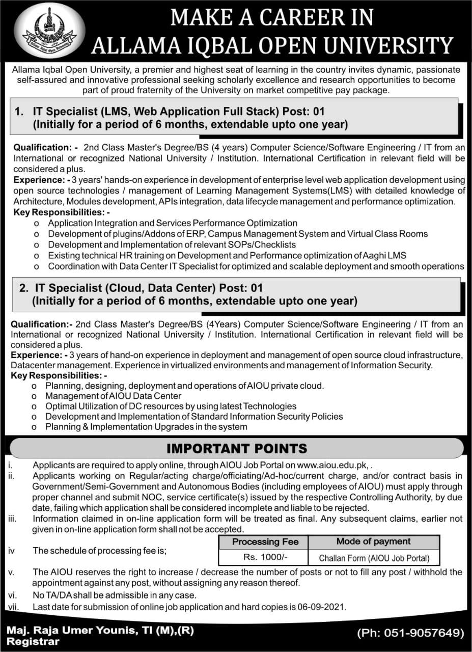 AIOU Jobs 2021 Latest – Make a Career in Allama Iqbal Open University