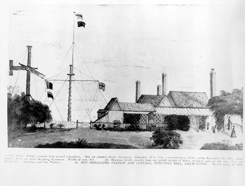 Sketch of the Old Signalling Station and cottage, Windmill Hill, Launceston
