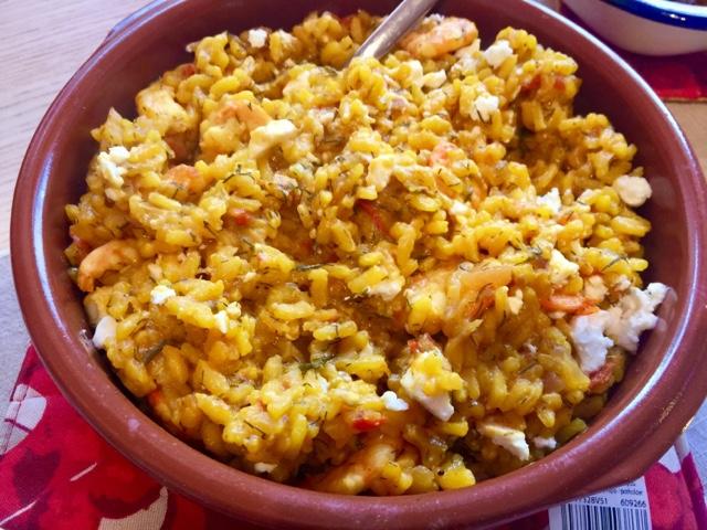 Aegean prawns with tomato, feta, rice and saffron